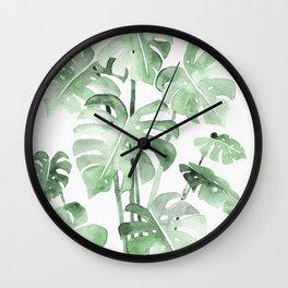 Delicate Monstera Green #society6 Wall Clock