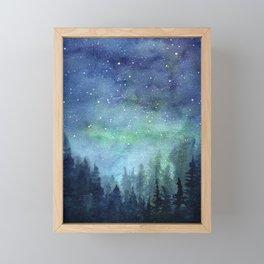 Watercolor Galaxy Nebula Northern Lights Painting Framed Mini Art Print