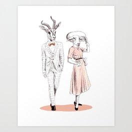 Bestial fashion couple Art Print