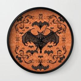 Bats and Filigree - Halloween Wall Clock