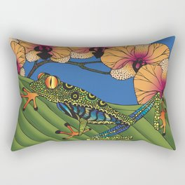 Tree Frog with Orchids Rectangular Pillow
