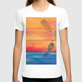 Rising Sun. My Orginal Abstract Painting by Jodilynpaintings. Abstract Sunset With Feathers. Beach T-shirt