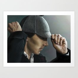 Sherlock and his deerstalker Art Print