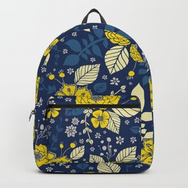 Yellow & Blue Floral Pattern Backpack