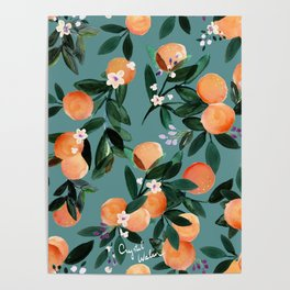 Dear Clementine - oranges teal by Crystal Walen Poster