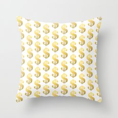 Gold Money - modern sparkle gold foil trendy hipster urban beach summer fresh pattern money sign  Throw Pillow