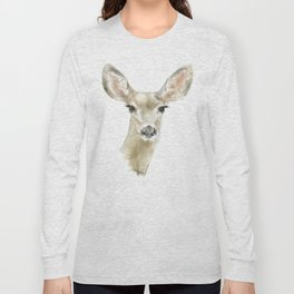 Doe Deer Watercolor Painting Fine Art Long Sleeve T-shirt