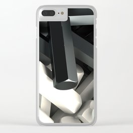 Pile of black and white hexagon details Clear iPhone Case