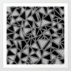 Abstract Outline Lines Black Art Print