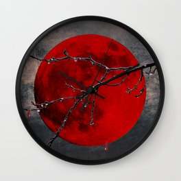 Modern Blood Red Moon Rain Gothic Decor A175 Wall Clock