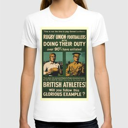 British rugby, football players call for duty T-shirt