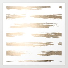 Simply Brushed Stripe White Gold Sands on White Art Print