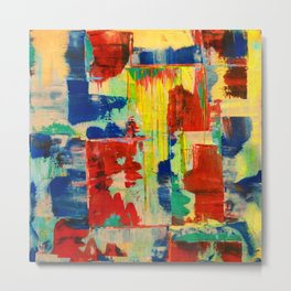 Ice and Heat...polar Opposites!: Abstract Acrylic Painting with neon and bright colors Metal Print