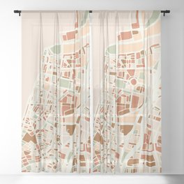TEL AVIV ISRAEL CITY MAP EARTH TONES Sheer Curtain