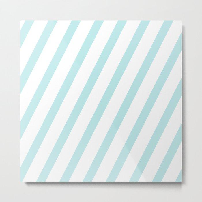 Diagonal stripes - turquoise fresh summer pattern Metal Print