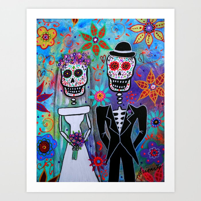 DAY OF THE DEAD WEDDING COUPLE PAINTING Art Print