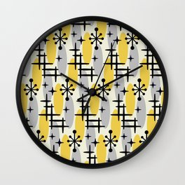 Retro Mid Century Modern Cosmic Surfer Pattern 231 Gray and Yellow Wall Clock