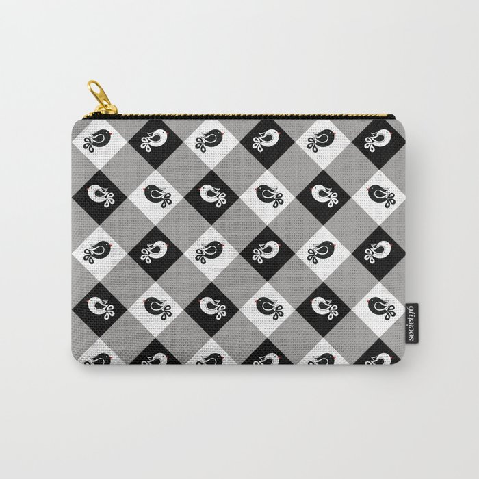 black and white birds 1 Carry-All Pouch