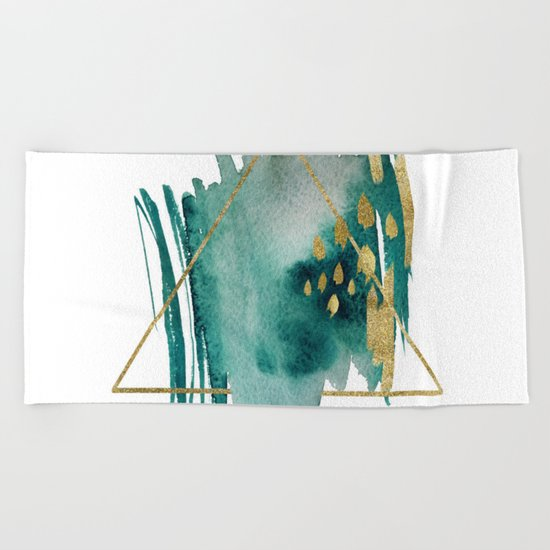 Abstract Geometric gold Beach Towel