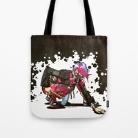 warhammer Tote Bags featuring Dystopian Dumpster Princess by Minerva Mopsy