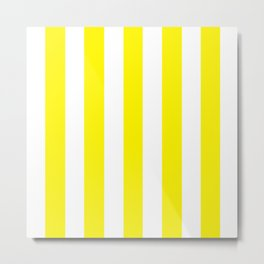 Cadmium yellow - solid color - white vertical lines pattern Metal Print
