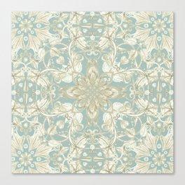 Soft Sage & Cream hand drawn floral pattern Canvas Print