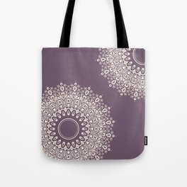 Asymmetric Mandalas on Mulberry Background Tote Bag