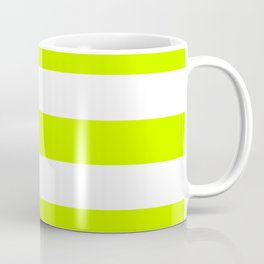 Electric lime - solid color - white stripes pattern Coffee Mug