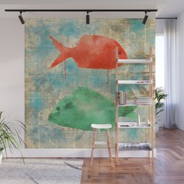 Red and Green Fish - watercolors Wall Mural