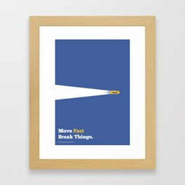 Lab No. 4 - Move fast break things Mark Zuckerberg Inspirational Quotes Poster Framed Art Print