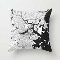 boston map Throw Pillows featuring Boston Map Gray by City Art Posters
