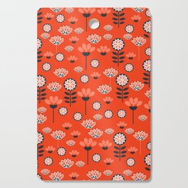 Whimsy wildflowers in red Cutting Board