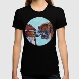 Kissing Boxers Dogs Portrait T-shirt