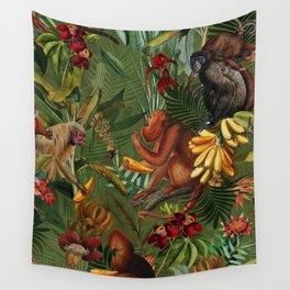 Vintage & Shabby Chic - Green Monkey Banana Jungle Wall Tapestry