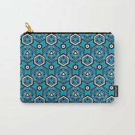 Cerulean Blue Geometric Pattern Design Carry-All Pouch