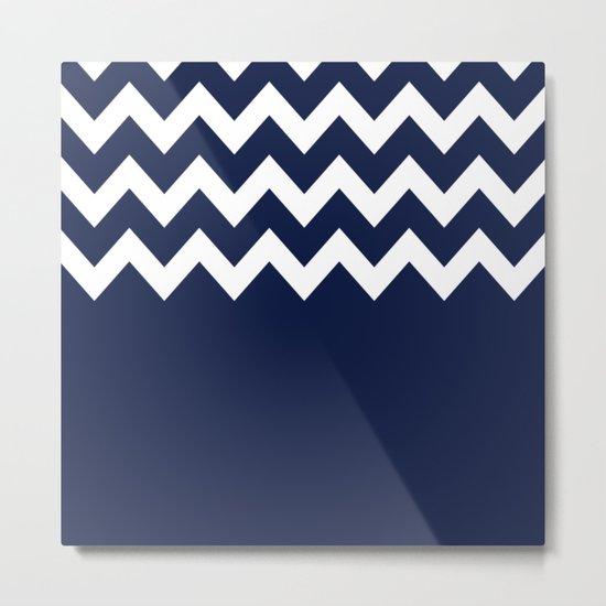 Indigo Navy Blue Chevron Block Metal Print