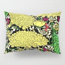YELLOW & BLACK FLORAL FRIVOLITY FANTASY GARDEN Pillow Sham