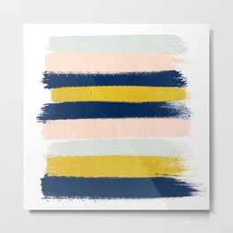 Stripes minimal trendy color palette gold silver metallic minimal home decor Metal Print