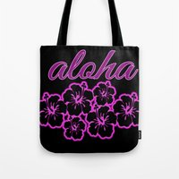 aloha Tote Bags featuring ALoha  by Lonica Photography & Poly Designs
