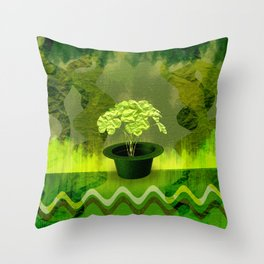 Abstract St Patrick day clover in a hat Throw Pillow