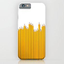Pencil row / 3D render of very long pencils iPhone Case