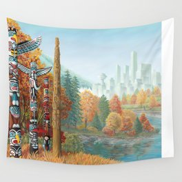 Vancouver Two Worlds Collide Landscape Painting Wall Tapestry