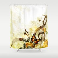 music notes Shower Curtains featuring Butterfly Music Notes by FantasyArtDesigns
