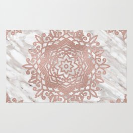 Rose gold mandala on taupe marble Rug
