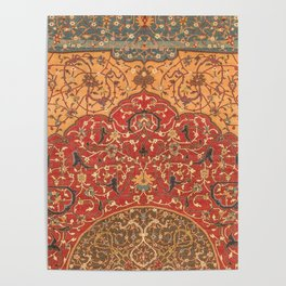 Flowery Vines III // 16th Century Contemporary Red Blue Yellow Colorful Ornate Accent Rug Pattern Poster