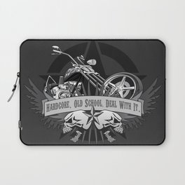 Hardcore. Old School. Deal With It. Classic Chopper and Skulls Laptop Sleeve