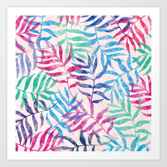Watercolor Tropical Palm Leaves Art Print