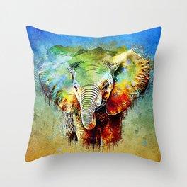 watercolor elephant Throw Pillow