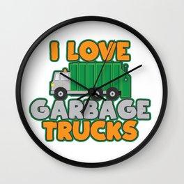 I Love Garbage Day Trash Trucks Little Boys Girls Gift Shirt Wall Clock