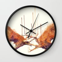 strong Wall Clocks featuring Stags // Strong by Amy Hamilton